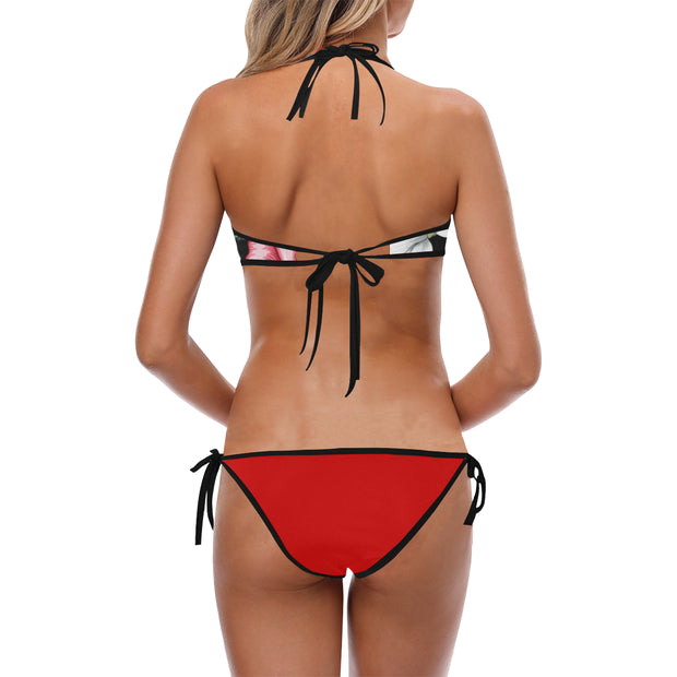 Mix Floral Halter Top Red Bikini Tie Side Set - bikini149.com