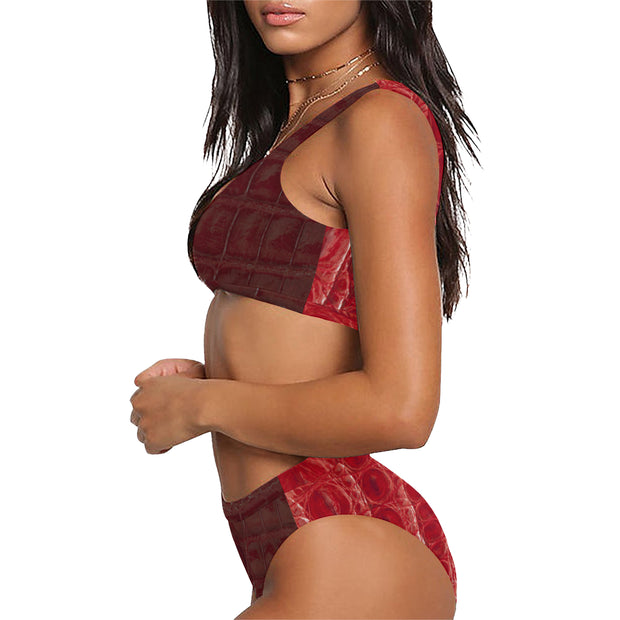 Sport Top & Red Mix Snakeskin High-Waisted Bikini Swimsuit - bikini149.com