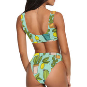 Summer Lady Cactus Print High Waisted Set - bikini149.com