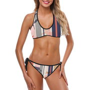 Striped Halter Set Bikini Surfing Time - bikini149.com