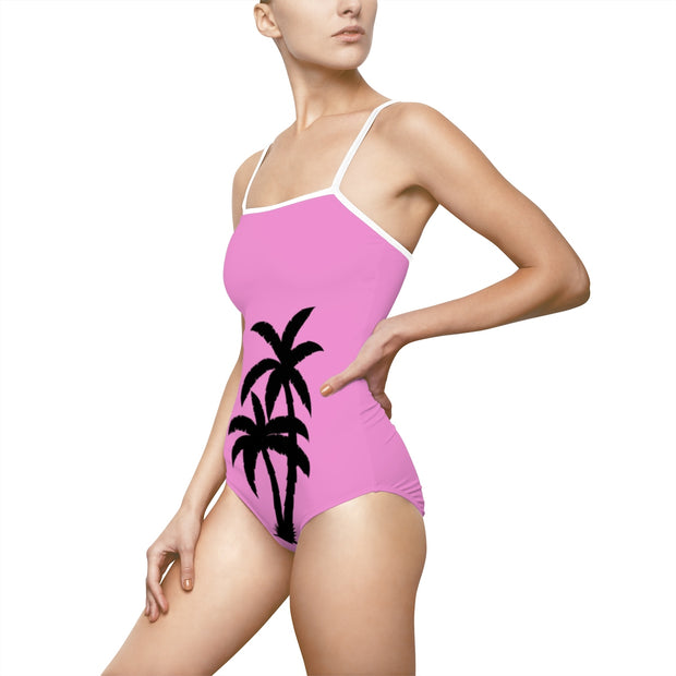 Pink Palm leaf Swimsuit