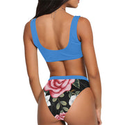 Sport Top & Lady Mix Blue Floral High-Waisted Set - bikini149.com