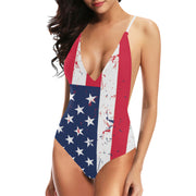 Lacing Backless One-Piece Swimsuit American Flag - bikini149.com