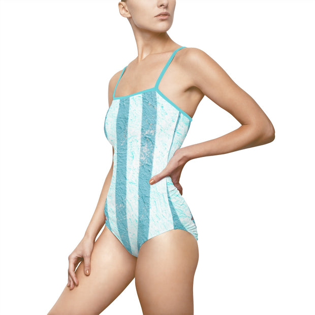 Pink Dolphin One-piece Swimsuit Striped