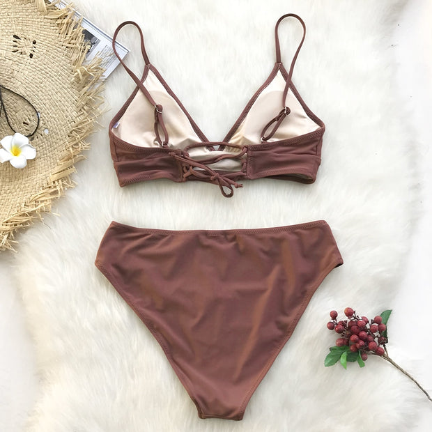Brown Lace-Up Bikini Set - bikini149.com