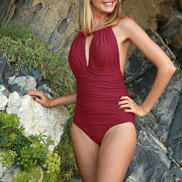 Red Halter One Piece Swimsuit V-Neck - bikini149.com