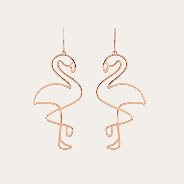Golden Flamingo Earrings Trending Jewelry