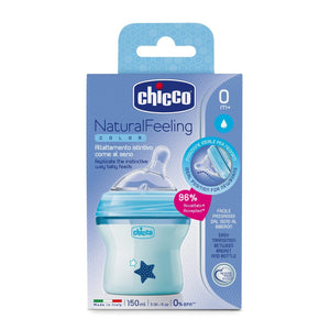 Chicco - Biberón Natural Feeling - Azul, 150 ml