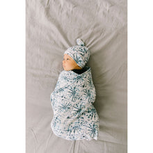 Newborn top knot hat - Indigo