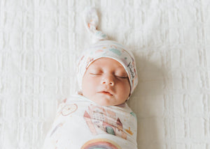 Newborn top knot hat - Enchanted
