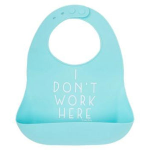 tunno tots - I Dont Work Here Silicone Bib Aqua