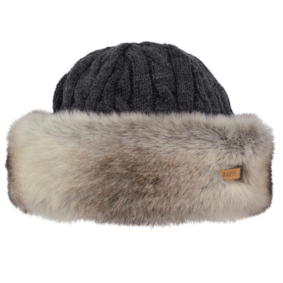 Barts fur cable bandhat heather brown - Damplein 9 SKI & Fashion