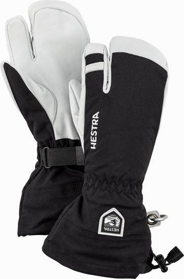 Hestra Army Leather Heli Ski 3-finger skigloves black/white - Damplein 9 SKI & Fashion