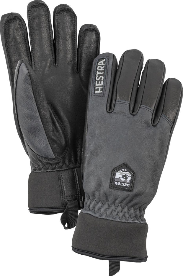 Hestra Army leather wool terry ski handschoenen zwart - Damplein 9 SKI & Fashion