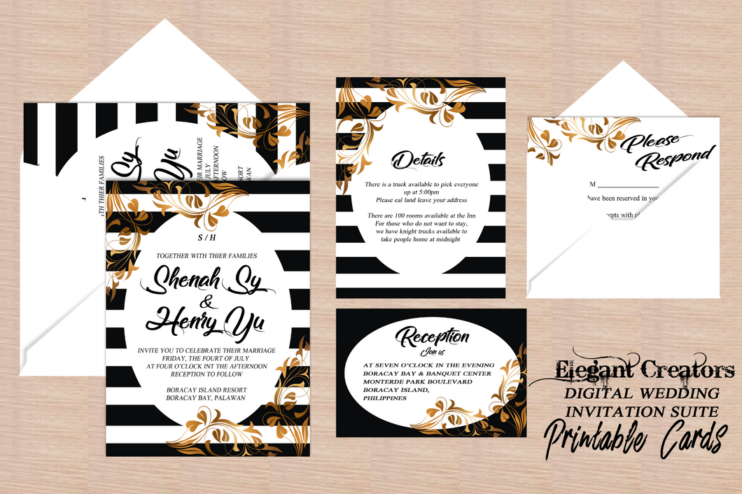 Printable Wedding Invitation The Amazing Golden Stripes