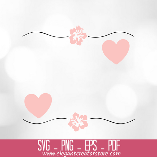 2 flowers 2 heart square SVG