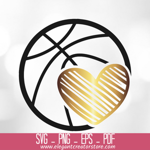 basketball heart SVG