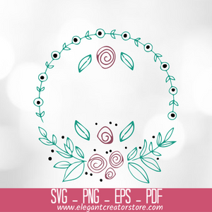 wreath roses circle SVG