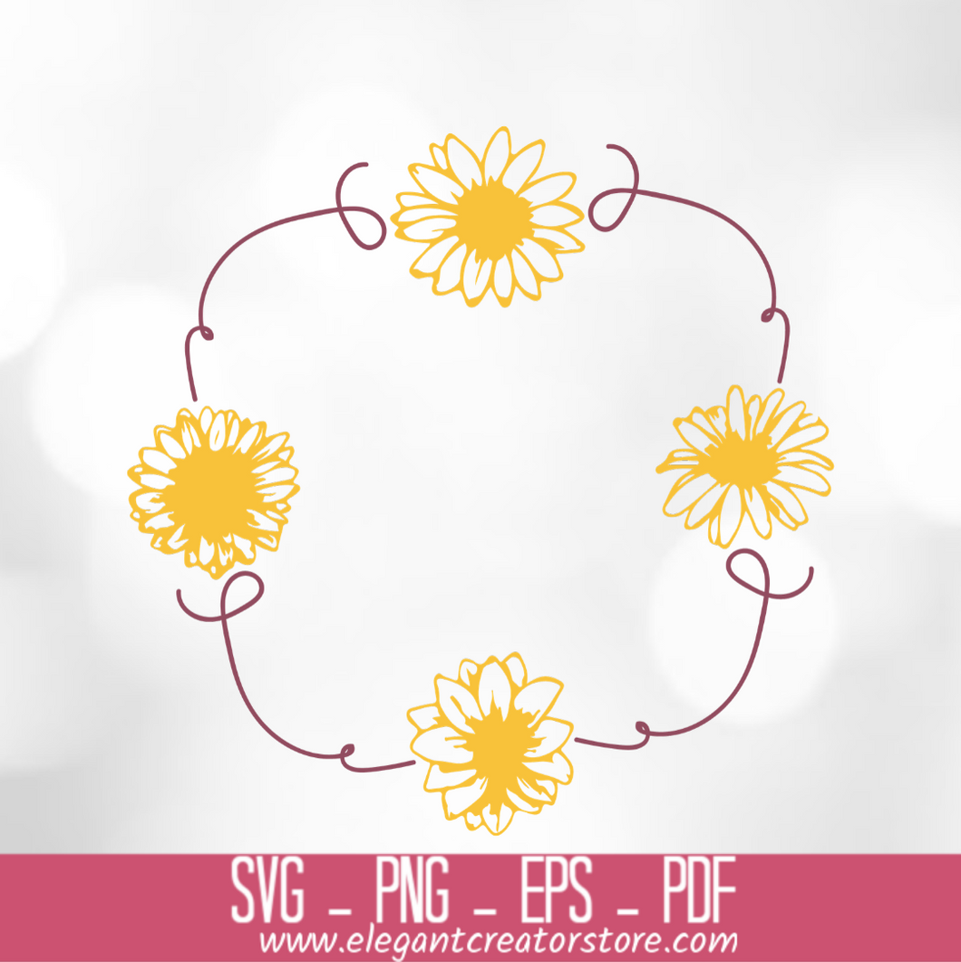 yellow flower frame SVG