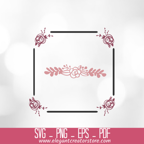 4 roses with square SVG