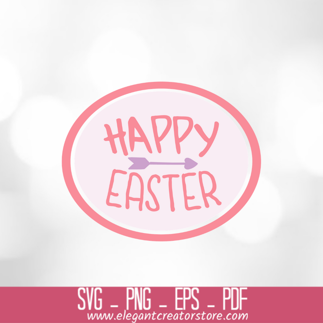 HAPPY EASTER CIRCLE SVG