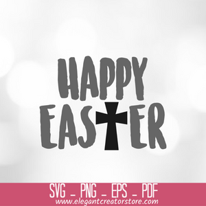 HAPPY EASTER CROSS SVG