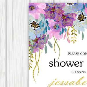 Printable Bridal Shower Invitation The Purple Joy