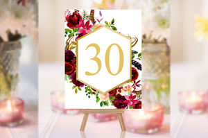 Printable Wedding Table Number The White Floral Arrangement