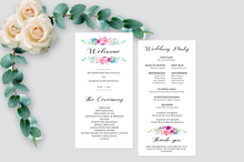 Load image into Gallery viewer, Printable Wedding Menu Simple Rose