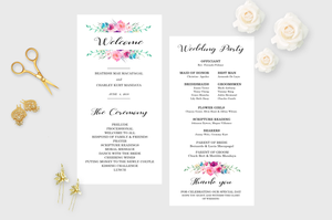 Printable Wedding Menu Simple Rose