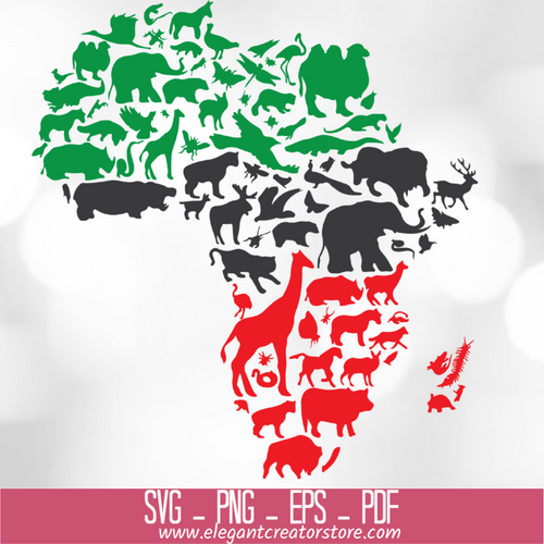 AFRICA ANIMALS COLOR SVG