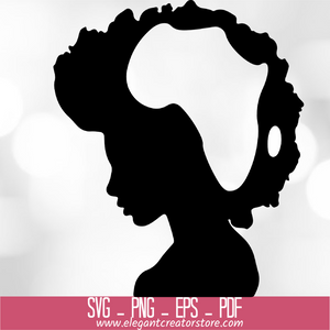 AFRO WOMAN WITH AFRICA MAP SVG