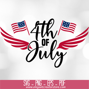 4th of July Wings & Flags SVG