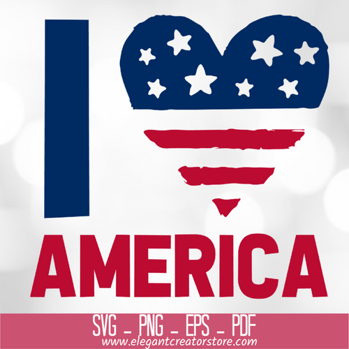I Love America Flag SVG
