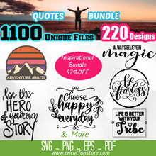 Load image into Gallery viewer, Quotes, Motivation & Inspiration  Bundle SVG 1100+ Files Special 95% OFF