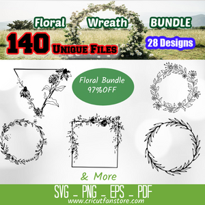 A Floral Wreath  Bundle, 140+ SVG Files 95% OFF