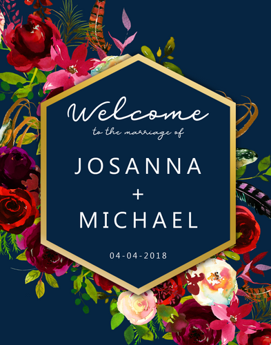 Printable Wedding Welcome Sign The Navy Floral Arrangement