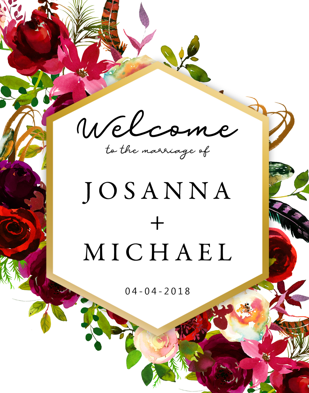 Printable Wedding Welcome Sign The White Floral Arrangement