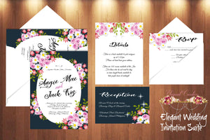 Printable Wedding Invitation The Enchanted Rosie