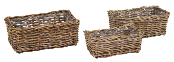 Laura Rect Basket -F- Natural S3 L34/41W18/26H13/