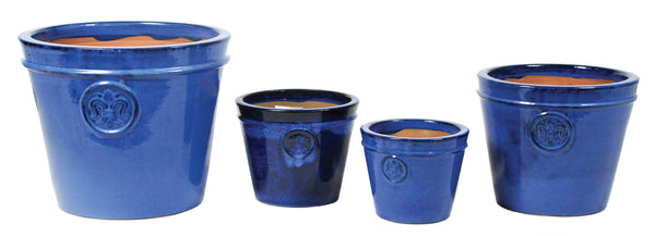 Glazed Flower Planter Low Blue S4 D18/37H14/31