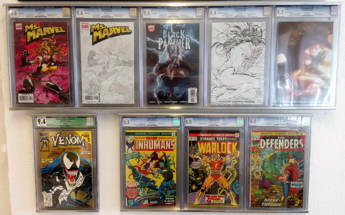 CGC Aluminum Wall Frame for 5 books flat mount