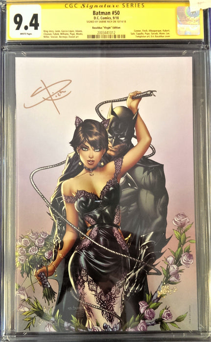 BATMAN #50 (REBIRTH) CGC 9.4 EBAS VIRGIN SIGNED BY SABINE RICH