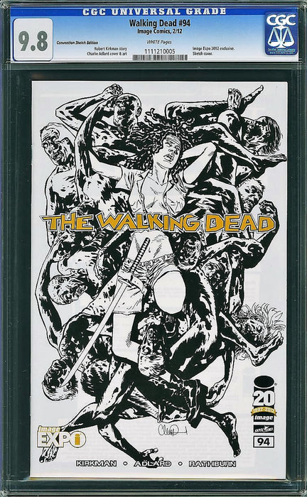 WALKING DEAD #94 IMAGE EXPO SKETCH EXCLUSIVE CGC 9.8 LTD 200
