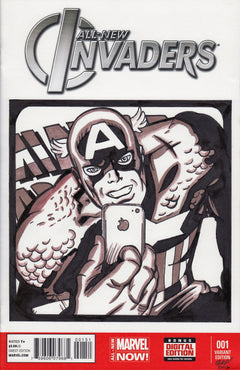 Captain America iphone Original Art by Gary Parkin