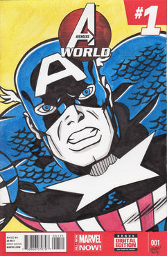 Captain America Retro Original Art by Gary Parkin