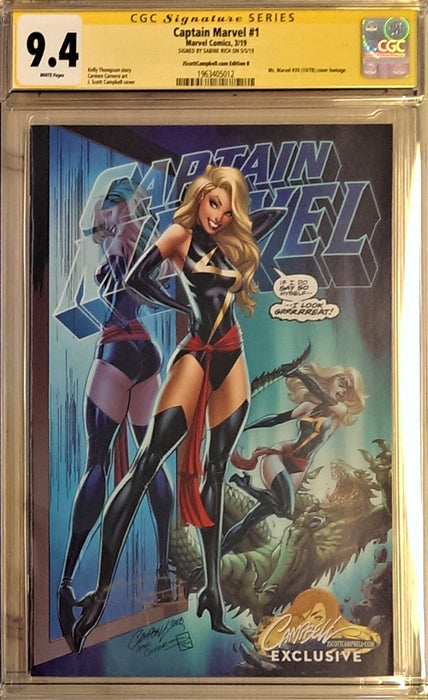 CAPTAIN MARVEL #1 CAMPBELL CVR B CGC SS 9.4 SIGNED SABINE RICH