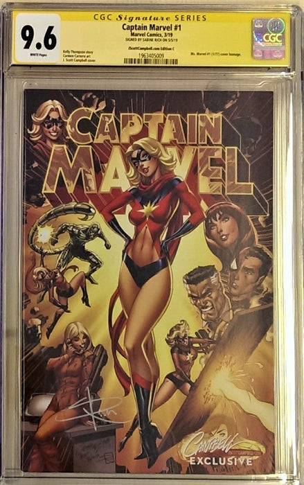 CAPTAIN MARVEL #1 CAMPBELL CVR C CGC SS 9.6 SIGNED SABINE RICH