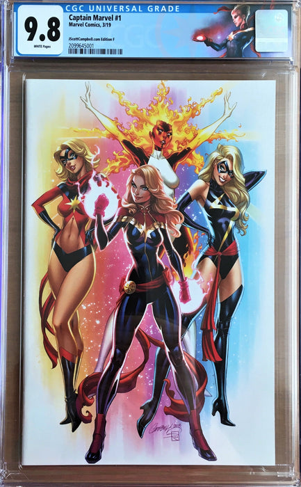 CAPTAIN MARVEL #1 J SCOTT CAMPBELL.COM EXCLUSIVE CVR F CGC 9.8