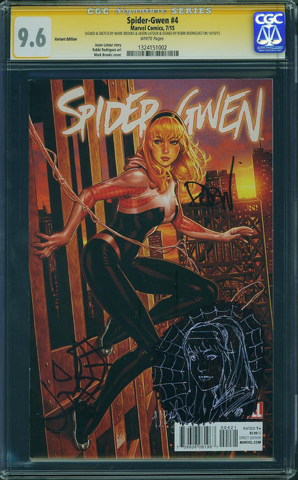 SPIDER-GWEN #4 MIDTOWN CGC 9.6 SIGNED & SKETCH MARK BROOKS